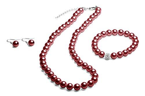 FlexiStore Collier de perles avec bracelet et boucles doreilles - Chaîne perlée - Rouge Bordeaux