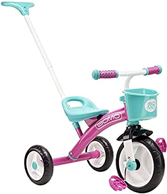 GOMO Kids Tricycles for 2 Year Olds, 3 Year Olds & Kids 1-6, Big Wheels Baby Bike Toddler Bikes - Trikes for Toddlers with Push Handle (Pink/Teal) from Nextsport