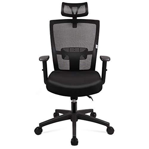 mfavour Bürostuhl, Ergonomisch Schreibtischstuhl Bürostuhle Computerstuhl drehstuhl mit Netz-Design-Sitzkissen, Verstellbare Wippfunktion, Armlehne, Sitzhöh, Kopfstütze Maximale Belastbarkeit 135 kg
