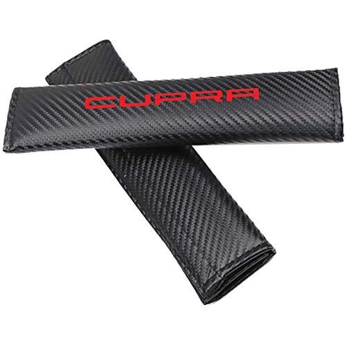 2 Piezas Fundas para Cinturones De Seguridad Hombreras para Cupra, Cuero Negro Almohadillas para CinturóN De Seguridad para AutomóVil Almohadilla para Cubrir El CinturóN De Seguridad