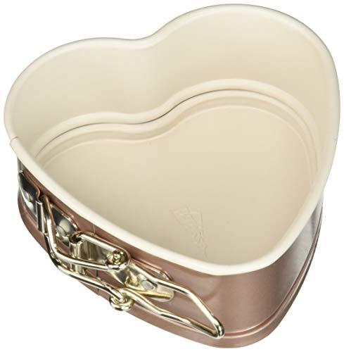 Patisse Mini Heart Shape Springform Pan 4-3/4' or 12 cm Ceramic Nonstick Coated Off-White/Copper Color 03390