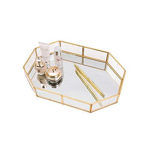 HARLIANGXY - Spiegeltablett Gold - Vintage Spiegel Tablett - Klein Metall Tablett - Dekotablett als Schminktisch Aufbewahrung - Schmuck/Make up Organizer - 20 x 14 x 4 cm
