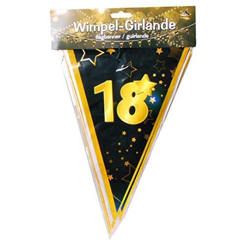 "Udo Schmidt GmbH & Co Wimpelgirlande 18\"" Schwarz Gold zum 18. Geburtstag Party Dekoration Geburtstags Deko"