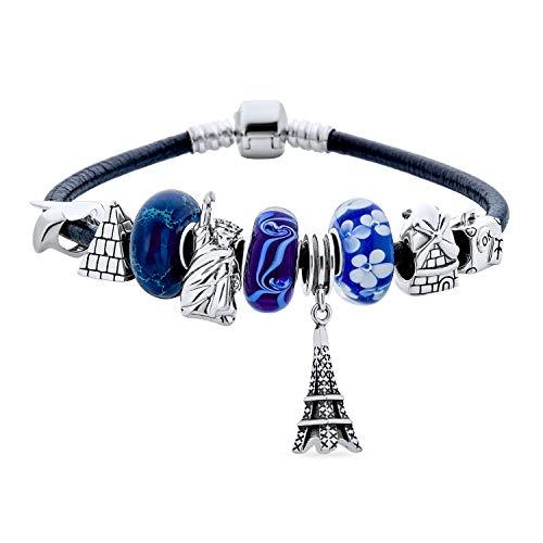 Urlaub Thema Welt Reise Tourismus Wahrzeichen Perlen Multi Charm Armband für Frauen Teens .925 Sterling Silber schwarz echtes Leder europäischen Fass Snap Verschluss Armbänder 7,5 Zoll