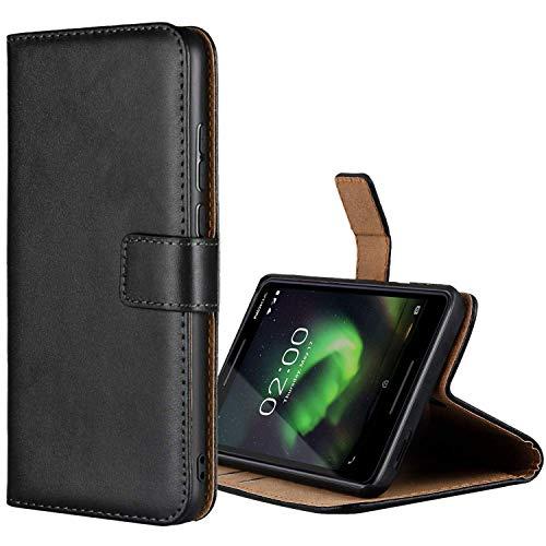 Aopan Nokia 2.1 Coque, Flip Étui en Cuir Véritable Portefeuille Housse pour Nokia 2.1, Noir