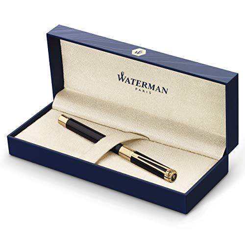 Waterman Perspective Penna Stilografica, Pennino Medio con Cartuccia di Inchiostro Blu, Nero Lucido con Clip in Oro 23 Carati, Confezione Regalo
