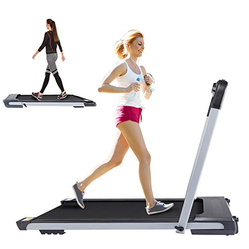 Lightweight Portable Treadmill Small Space for Running Walking, 2 in 1 Folding Under Desk Jogging Machine with Remote Control and LED Display(Silver)