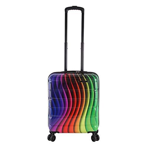 Rada Aero Vortex Reisekoffer, Hartschale aus ABS, klein, mittel, groß, Kofferset, Trolley mit Motiv, TSA-Schloss und 4 Rollen (Rainbow, Handgepäck | 52 cm)