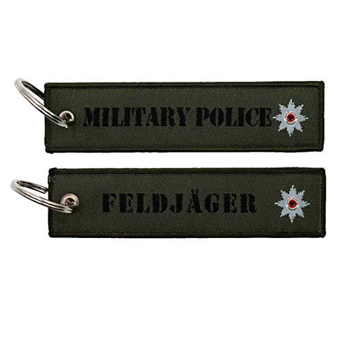 Café Viereck ® Gewebter Feldjäger Military Police Schlüsselanhänger mit Öse und Ring – 12 cm x 3 cm