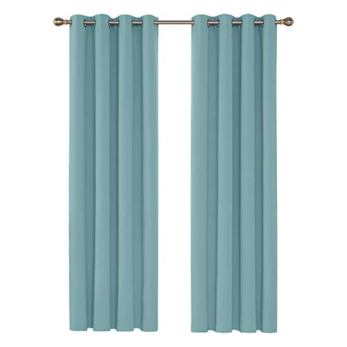 Deconovo Cortinas Opacas de Salón Dormitorio Infantil Moderno Proteccion Privacidad 2 Piezas 140 x 245 cm Azul Cielo