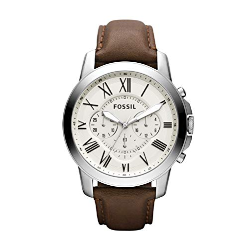 Fossil Men's Grant Quartz Stainless Steel and leather Dress Watch Color: Silver, Brown (Model: FS4735IE)