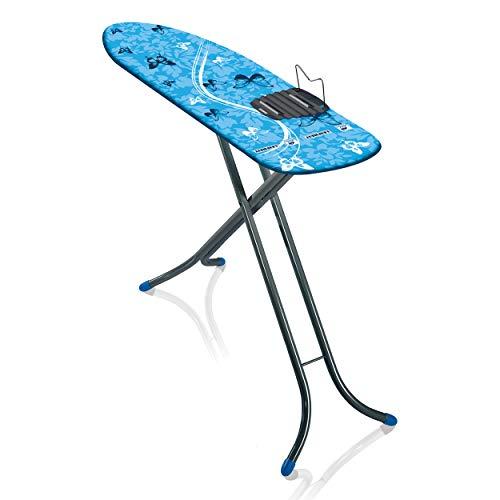 Leifheit Bügeltisch AirBoard M Shoulder Compact 60years Color Edition blau, ultraleichtes Bügelbrett mit Schulterpassform für Dampfbügeleisen, Dampfbügeltisch mit Zwei-Seiten-Bügeleffekt