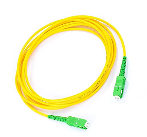Cable de Fibra Óptica para Router-Compatible 99% Operadores Movistar Jazztel Vodafone Orange Amena Masmovil SC/APC a SC/APC monomodo simplex 9/125 (Amarillo, 2M)