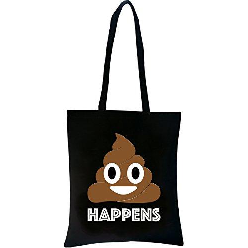 PREMYO Borsa della Spesa Riutilizzabile Shopper di Tela Tote a Spalla Manici Lunghi con Scritta Stampa Emoji Smiley Comodo Robusto Cotone Nero