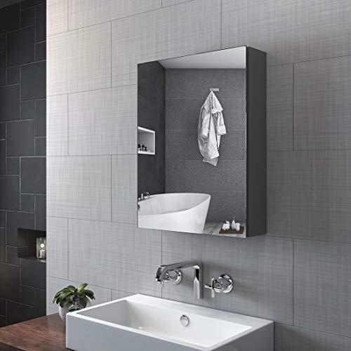 KOBEST Spiegelschränke fürs Bad Badezimmer Spiegelschrank, 50x65cm Bad hängeschrank eintüriger Badschrank mit Doppelseitiger Spiegel(Grau)