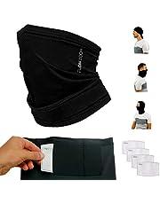 FLOWZOOM Snood Gezichtsmasker voor Mannen en Vrouwen met Filter (4 stuks) | Sjaal Gezichtsmaskers Herbruikbaar | Zwart Gezichtsmasker