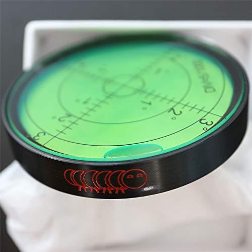"Metal Large Spirit Bubble Level (Green) 60mm Diameter, 2-23/64"", Degrees, Circular, Surface Level- Metal Housing, Bulls Eye Bullseye Vial Round, (supplied in a gift box)"