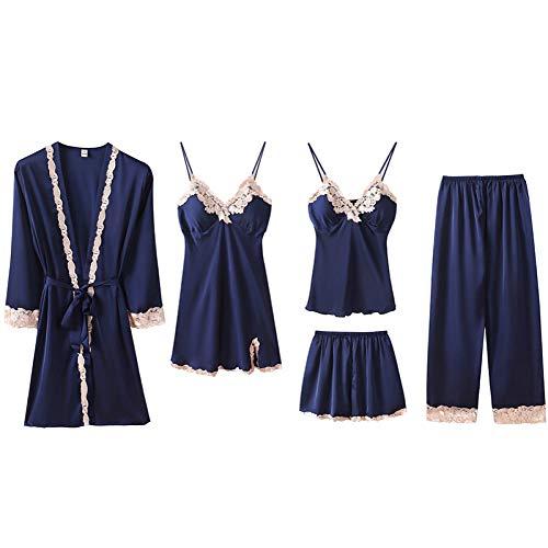Chongmu Mujer Satinada Pyjama Sets Sexy Seda Ropa de Dormir 5pcs Ropa de Noche Encaje Camisón...