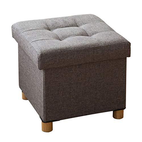 YIGEYI Accueil Poufs repose-pieds poufs pliants Pieds en bois Poufs en lin Tabouret de siège pouf max 150kg, 38 x 38 x 35 cm (Couleur : Gray)