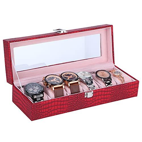 Vitrina Rectangular de Cuero PU con Caja de Reloj de 6 Ranuras, Organizador de Almacenamiento Rojo Vino