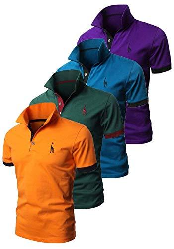 Polo De Los Hombres Polo De Slim Fit Manga Golf De Corta De Verano Solapa Básica De Los Deportes De Moda Casual Polo Tops (Color : Mp4, Size : S)