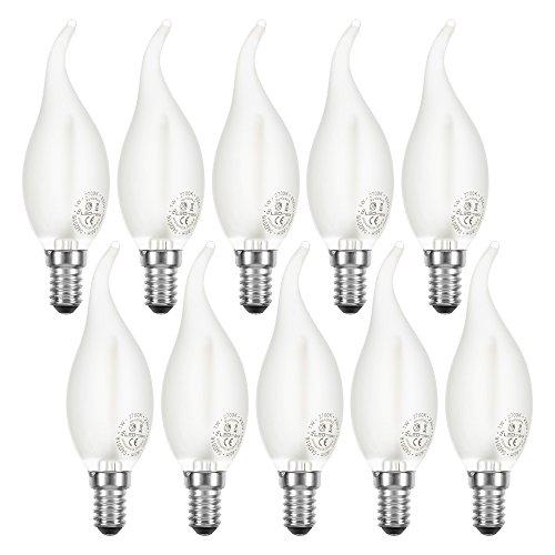 10 x LED Filament Windstoß Kerze 2W = 25W E14 MATT 200lm Leuchtmittel extra warmweiß 2200K Retro Nostalgie