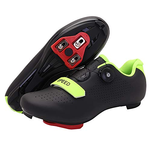 Men's Cycling Shoes, Compatible with Indoor Peloton Mountain Road Bike Peleton SPD Shoes for Men Delta Cleats Clip to Lock Shimano Pedal (Black, 5.5)