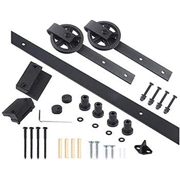 Kit de montaje de puerta corredera única estilo granero, de la marca Isasar, de madera, negro: Amazon.es: Bricolaje y herramientas