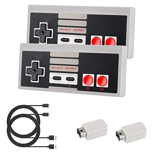 Controller wireless Laelr 2.4G 2 Pack Mini controller NES Gamepad Controller Nintendo Switch ricaricabile per NES / SNES Edizione classica Famicom Mini Console