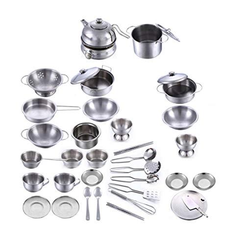Cocinar juguete Kits, juguetes de cocina de acero inoxidables niños, 18 conjuntos de juguetes de utensilios de cocina en miniatura, juguetes vajilla de simulación se hacen pasar por niños jugando