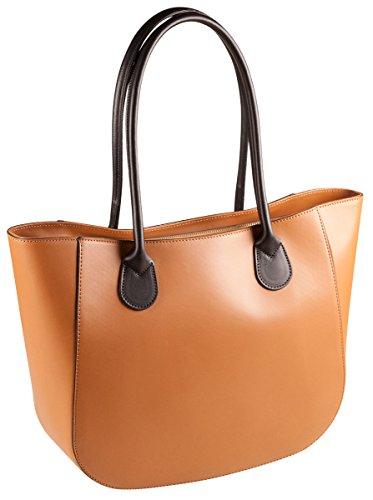PELLE ITALY Leder Schultertasche PI10087 Damen Handtasche Echt Leder 38x27x11 cm (BxHxT), Farbe:Camel