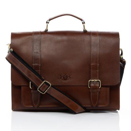 SID & VAIN® cartella portadocumenti vera pelle BRISTOL grande ventiquattrore borsa porta PC Ufficio Lavoro 15,4' uomo cuoio marrone