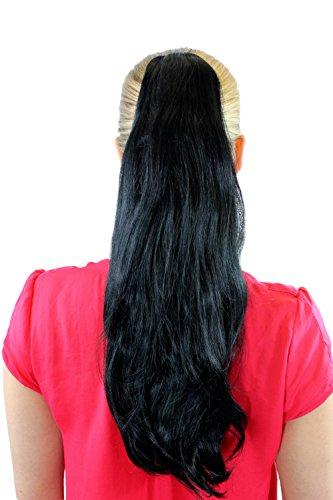 Extension, postiche, noir, couette / tresse, pince papillon, lisse avec pointes arquées, volumineux, env. 45 cm, T-15-1
