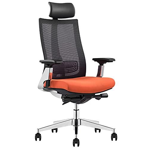 HXJU Ergonomischer Executive Office Chair, hochrücker Schreibtischstuhl - verstellbare Kopfstütze, Schwenknaht-Computer-Taskstuhl orange-A