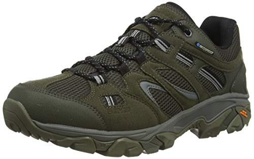 Hi-Tec RAVUS Vent Lite Low Waterproof, Zapatillas para Caminar para Hombre, Olive Night Negro Cool Grey, 46 EU