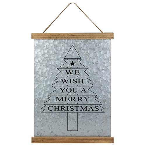 """Northlight 16"""" We Wish You a Merry Christmas Galvanized Sheet Metal Hanging Wall Sign"""