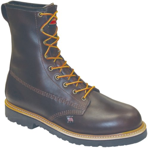 "Thorogood Men 8"" Waterproof/Insulated Lace Up Brown Leather Work Boot - 8 D"