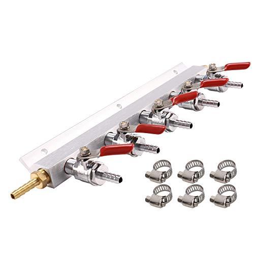 Nrpfell Gas Verteiler, Bier Gas Verteiler, Luft Verteiler CO2 Verteiler - Verteiler 1/4 Zoll Wider Haken nschlüSse (5 Wege 1/4 Zoll Wider Haken)