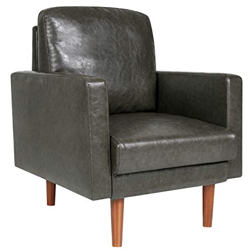 Accent Chair, Faux Leather Armchair for Living Room, Single Sofa Comfy with Pillow Tapered Legs - One-Seater