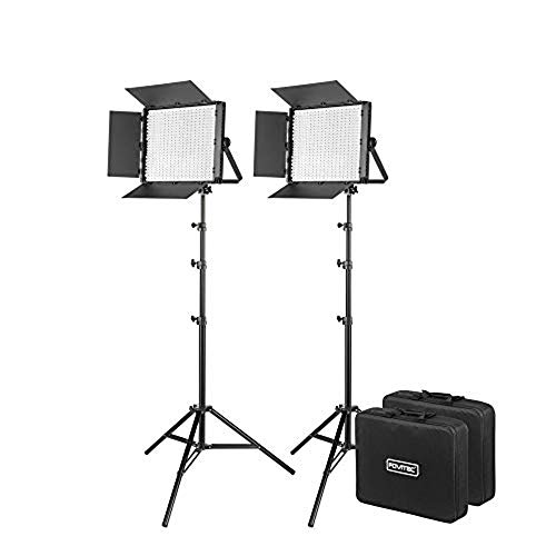 Fovitec Portable 2-Light 600 LED Bi-Color Panel Kit with Cases & Stands, 3200K-5600K, 95+ CRI, for Portraits, Product Photos, Vlogging, Video Conferencing, Green Screen Chroma Key, & Live Streaming