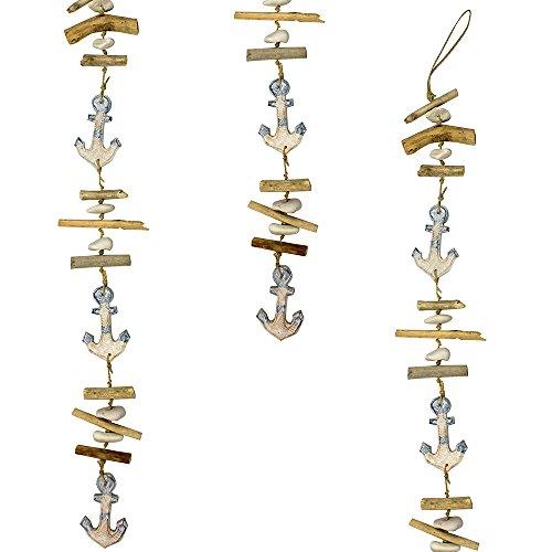 Trendy Bendy Garlands Hanging Driftwood Nautical Sea Beach Anchor Mobile 100cm Wall Bathroom Kitchen Decor