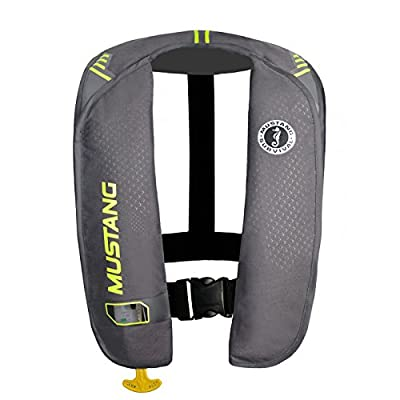 Mustang Survival - M.I.T. 100 Manual Inflatable PFD for Adults (Grey-Fluorescent Yellow - One Size Fits All) Adjustable Waist Belt, Large Arm Cut Outs, USCG Approved