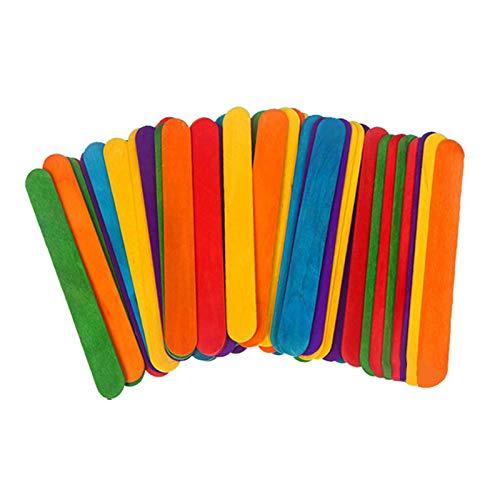 Palitos de madera para manualidades, Gxhong Palitos de madera, Palitos De Madera Helado, Popsicle Sticks, Palos de helados de madera natural, DIY Palitos de artesanía (Multicolor - 114 X 10 X 2MM)