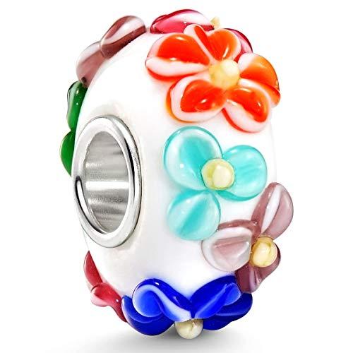 Materia Glas Beads Element bunt mit Blüten - Murano Bead im 3D-Design mit 925 Silber Beads Hülse für Beads Armband #1579