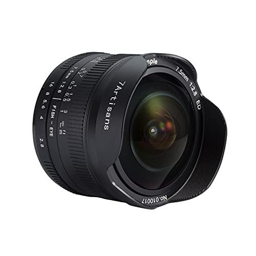 7artisans Fisheye Objektiv 7,5mm F2.8 II Ultraweitwinkel Manueller Fokus APS-C für Kamera DSLR Fujifilm FX Montura X-A1 X-A10 X-A2 X-A3 A-AT X-M1 XM2 X-T1 X-T10 X-T2 X-T20 X-Pro1 X-Pro2