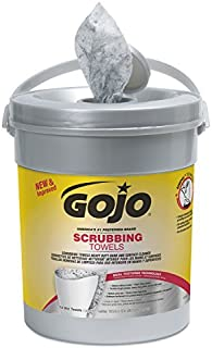 """GOJO Scrubbing Towels, Fresh Citrus Scent, 10 1/2"""" x 12"""", White, Canister of 72 Wipes"""
