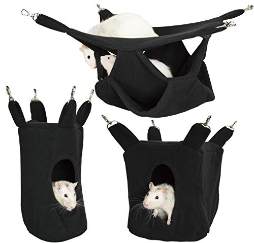 Rodents Residence Kuschelhängematten Set Kleintier Hängematte Höhle Haus Ratte Chinchilla Frettchen Degu (Schwarz)