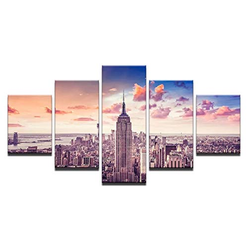 KELEQI Arte de la Pared Decoración Imágenes en Lienzo Impresiones en HD Sala de Estar 5 Piezas Sunset City Building Cityscape Poster (60x80cm) X2 (60x120cm) X2 (60x150cm) Sin Marco