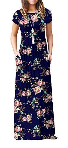 GRECERELLE Women's Short Sleeve Floral Print Loose Plain Maxi Dresses Casual Long Dresses with Pockets FP-Rose Navy Medium