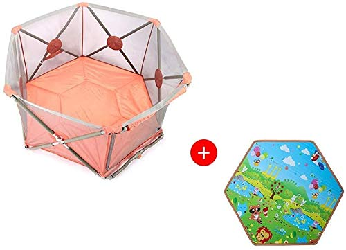 Cxjff Babyplaypen polygonale Struktur Designer-Zaun for Kinder Baby Kleinkinder Stabiler Aufbau waschbar Rosa (Color : -)